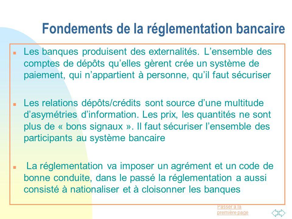 Passer à la première page Fondements de la réglementation bancaire n Les banques produisent des externalités. Lensemble des comptes de dépôts quelles