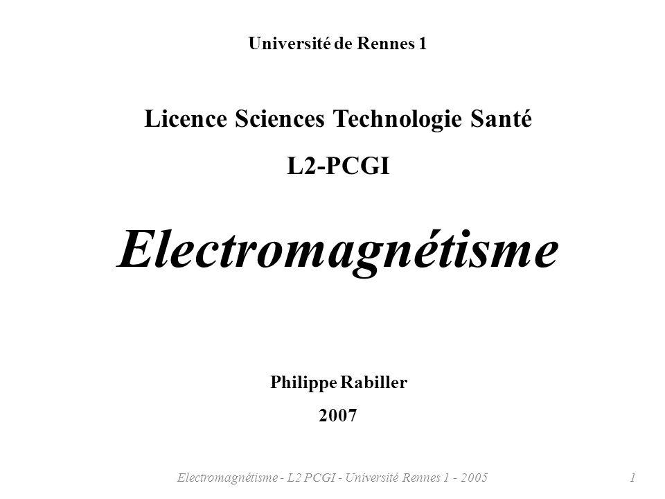 Electromagnétisme - L2 PCGI - Université Rennes 1 - 200542 Les définitions et des exemples algébriques (par des suisses francophones …) http://www.eiaj.ch/v2/support_de_cours/electricite/Cours_GEL/Branches_scientifiques/Mathematiques/Gradient %20rotationnel%20et%20divergence.pdf#search=%22rotationnel%22 Les définitions et des explications par des canadiens francophones (peut être une autre façon de voir …) http://www.cegepat.qc.ca/tphysique/sebas/page%20accueil/Opera.htm Une démonstration du champ de vecteur électrique où on peut construire et voir … http://hypo.ge-dip.etat-ge.ch/physic/simulations/champe/lignechamp.html Pour compléments ou exemples, voir par exemple les sites suivants:
