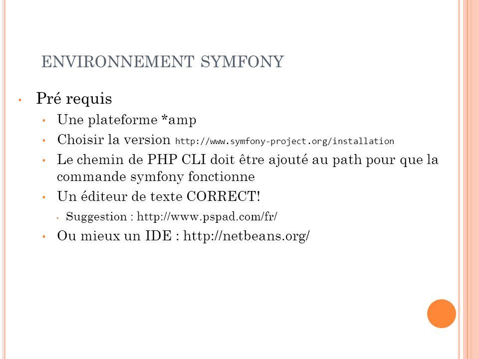 ENVIRONNEMENT SYMFONY Pré requis Une plateforme *amp Choisir la version http://www.symfony-project.org/installation Le chemin de PHP CLI doit être ajo