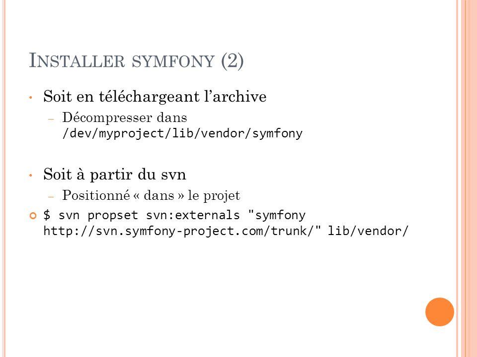 I NSTALLER SYMFONY (2) Soit en téléchargeant larchive – Décompresser dans /dev/myproject/lib/vendor/symfony Soit à partir du svn – Positionné « dans »