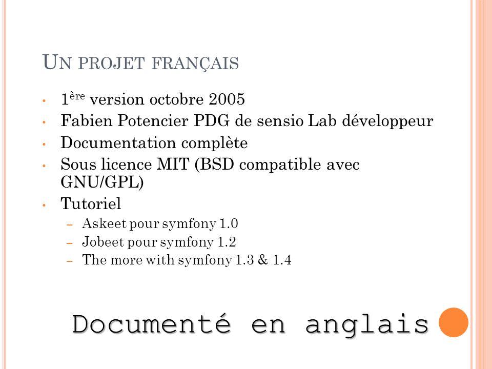 U N PROJET FRANÇAIS 1 ère version octobre 2005 Fabien Potencier PDG de sensio Lab développeur Documentation complète Sous licence MIT (BSD compatible