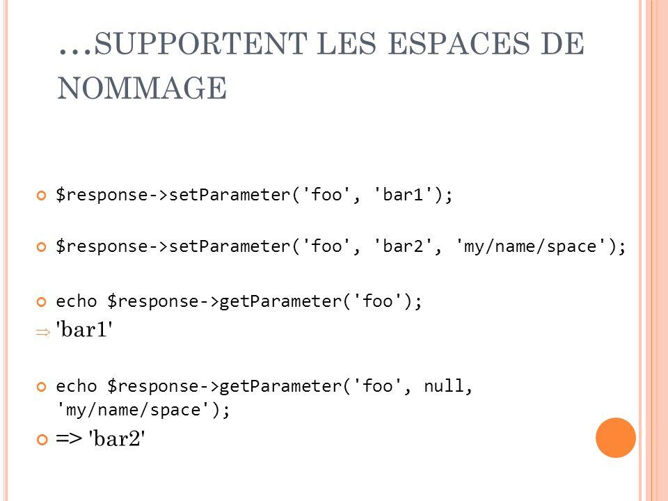 … SUPPORTENT LES ESPACES DE NOMMAGE $response->setParameter('foo', 'bar1'); $response->setParameter('foo', 'bar2', 'my/name/space'); echo $response->g