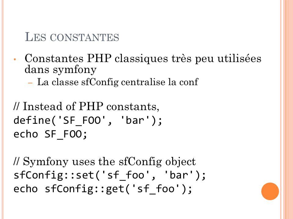 L ES CONSTANTES Constantes PHP classiques très peu utilisées dans symfony – La classe sfConfig centralise la conf // Instead of PHP constants, define(