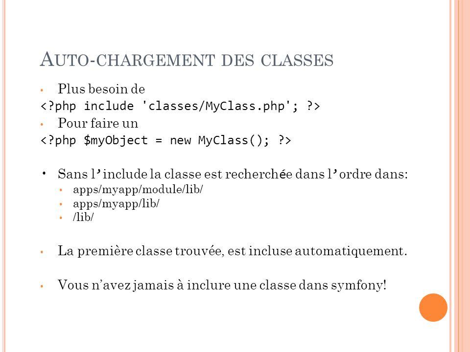 A UTO - CHARGEMENT DES CLASSES Plus besoin de Pour faire un Sans l include la classe est recherch é e dans l ordre dans: apps/myapp/module/lib/ apps/m