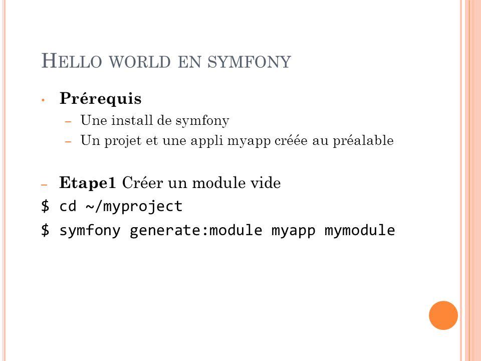 H ELLO WORLD EN SYMFONY Prérequis – Une install de symfony – Un projet et une appli myapp créée au préalable – Etape1 Créer un module vide $ cd ~/mypr