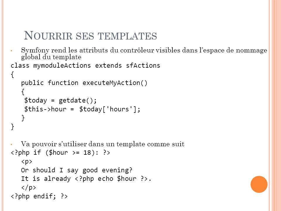 N OURRIR SES TEMPLATES Symfony rend les attributs du contrôleur visibles dans lespace de nommage global du template class mymoduleActions extends sfAc