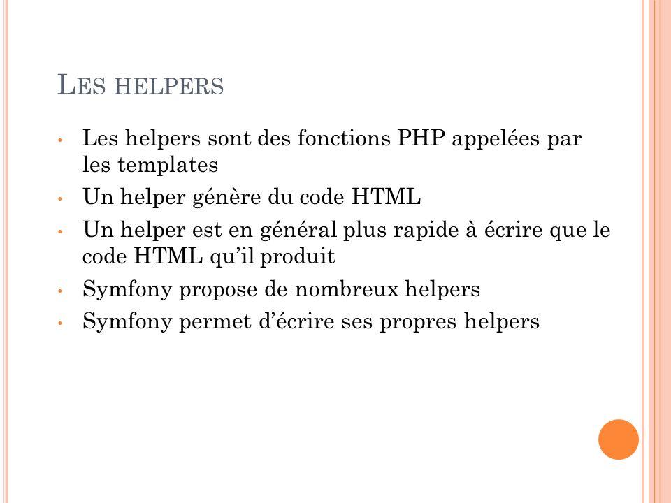 L ES HELPERS Les helpers sont des fonctions PHP appelées par les templates Un helper génère du code HTML Un helper est en général plus rapide à écrire