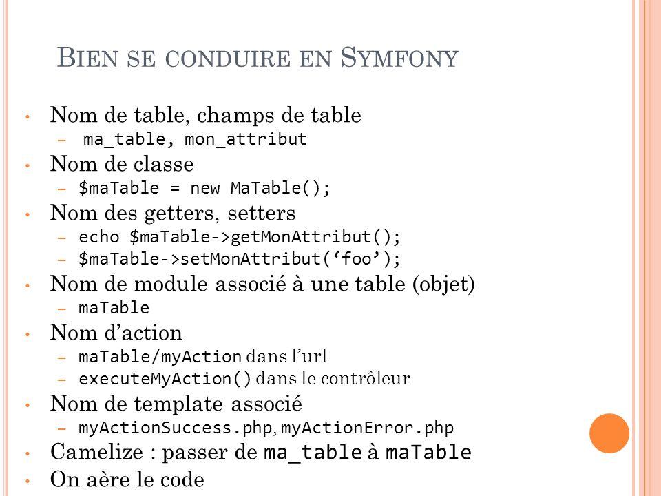 B IEN SE CONDUIRE EN S YMFONY Nom de table, champs de table – ma_table, mon_attribut Nom de classe – $maTable = new MaTable(); Nom des getters, setter