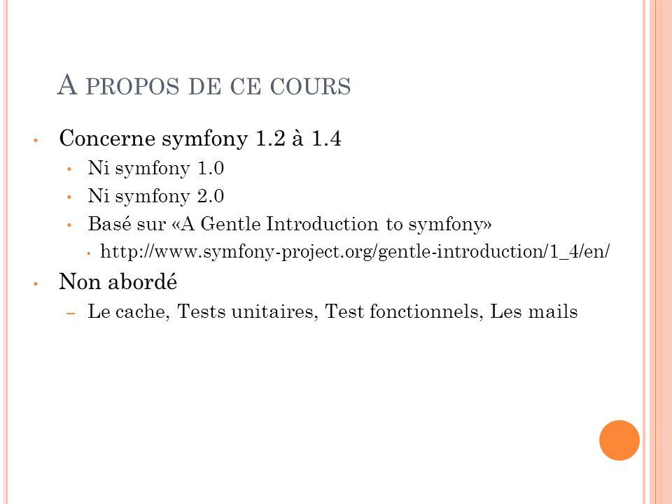 A PROPOS DE CE COURS Concerne symfony 1.2 à 1.4 Ni symfony 1.0 Ni symfony 2.0 Basé sur «A Gentle Introduction to symfony» http://www.symfony-project.o