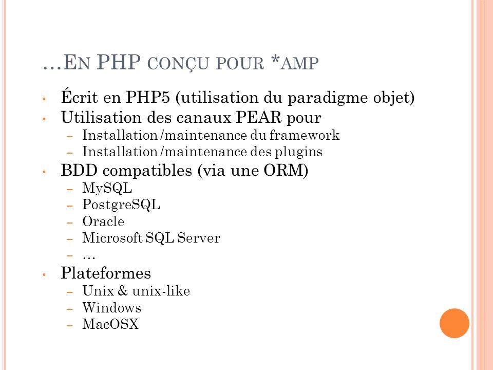 …E N PHP CONÇU POUR * AMP Écrit en PHP5 (utilisation du paradigme objet) Utilisation des canaux PEAR pour – Installation /maintenance du framework – I