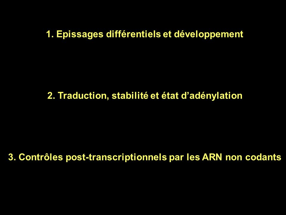Introduction Structure des ARNm eucaryotes AAAA…AAA 5'3' Coiffe (Cap) 7m G-PPP-N AUGSTOP Région 5' non codante (5'UTR) Région 3' non codante (3'UTR) P