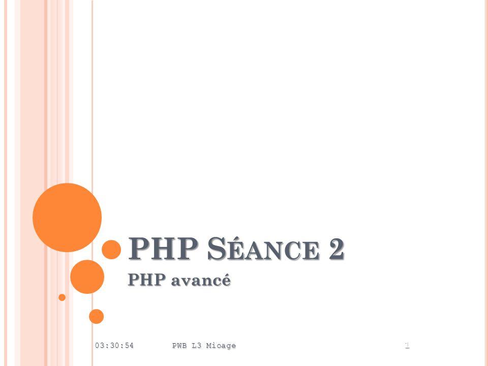 PHP S ÉANCE 2 PHP avancé 03:32:44 PWB L3 Mioage 1