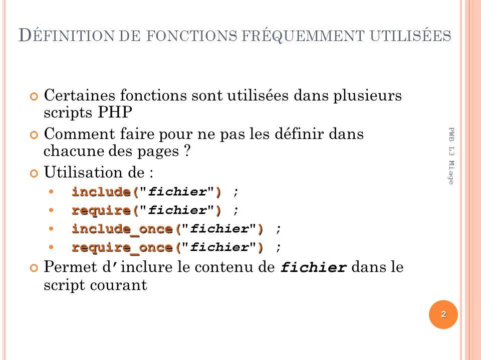D ÉFINITION DE FONCTIONS FRÉQUEMMENT UTILISÉES Certaines fonctions sont utilisées dans plusieurs scripts PHP Comment faire pour ne pas les définir dans chacune des pages .