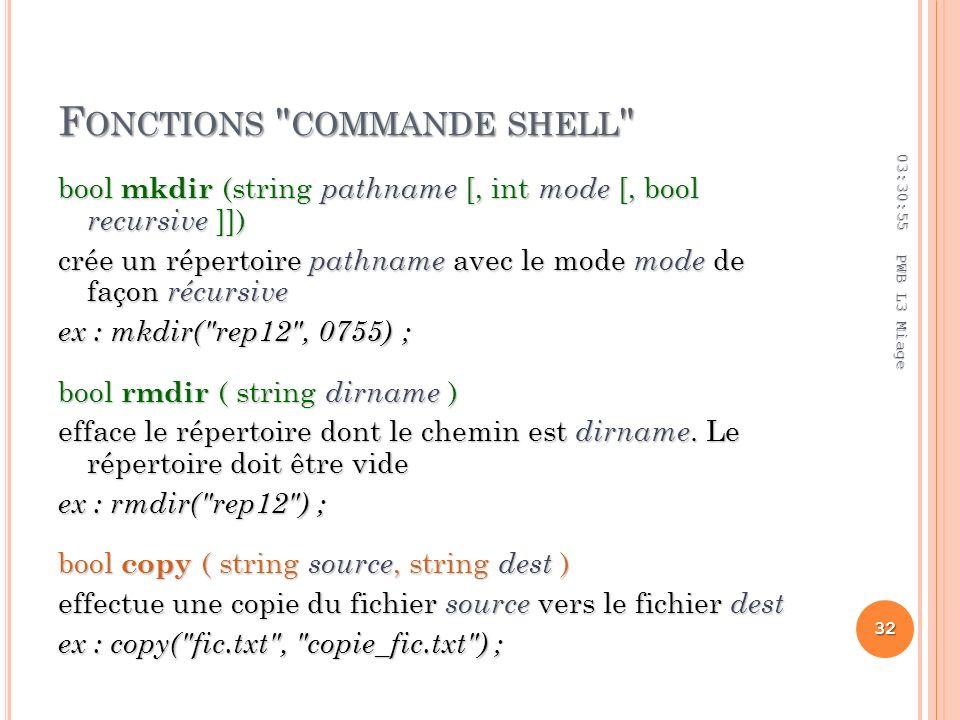 F ONCTIONS COMMANDE SHELL bool mkdir (string pathname [, int mode [, bool recursive ]]) crée un répertoire pathname avec le mode mode de façon récursive ex : mkdir( rep12 , 0755) ; bool rmdir ( string dirname ) efface le répertoire dont le chemin est dirname.