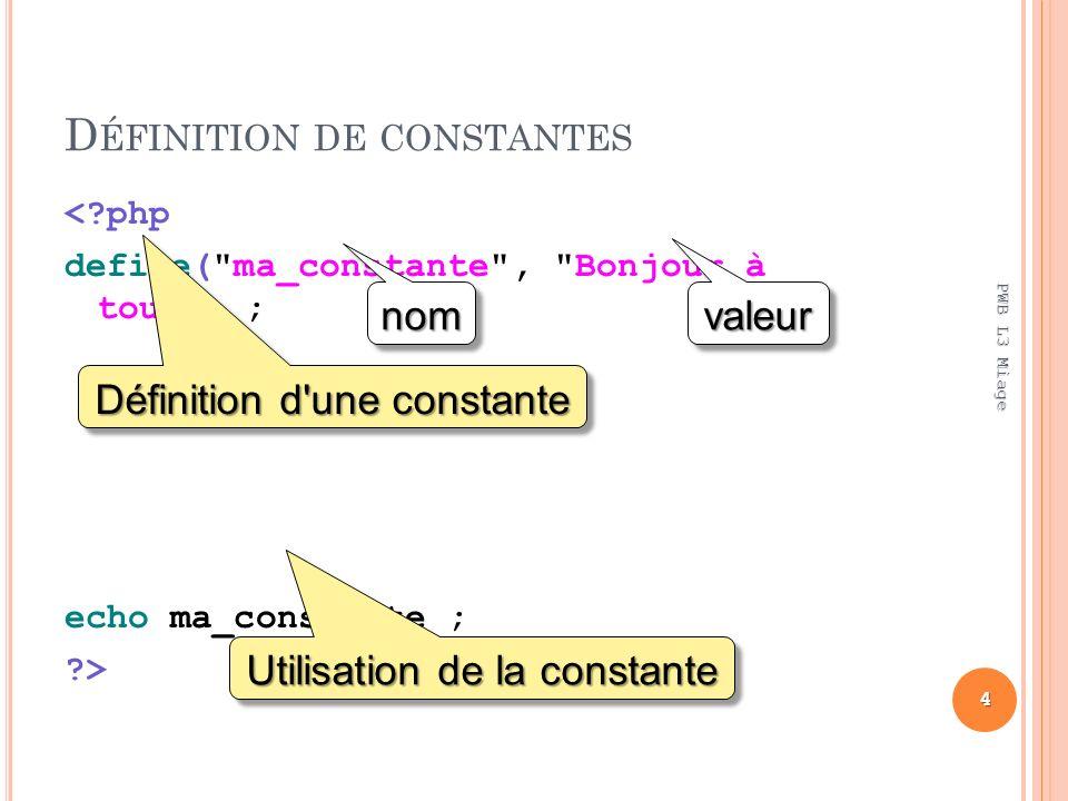 D ÉFINITION DE CONSTANTES < php define( ma_constante , Bonjour à tous ) ; echo ma_constante ; > 4 PWB L3 Miage Définition d une constante Utilisation de la constante nomnom valeurvaleur