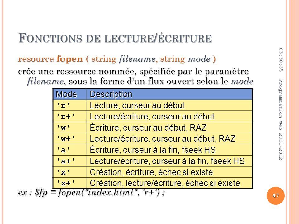 F ONCTIONS DE LECTURE / ÉCRITURE resource fopen ( string filename, string mode ) crée une ressource nommée, spécifiée par le paramètre filename, sous la forme d un flux ouvert selon le mode ex : $fp = fopen( index.html , r+ ) ; 03:32:45 47 Programmation Web 2011-2012 ModeDescription r Lecture, curseur au début r+ Lecture/écriture, curseur au début w Écriture, curseur au début, RAZ w+ Lecture/écriture, curseur au début, RAZ a Écriture, curseur à la fin, fseek HS a+ Lecture/écriture, curseur à la fin, fseek HS x Création, écriture, échec si existe x+ Création, lecture/écriture, échec si existe