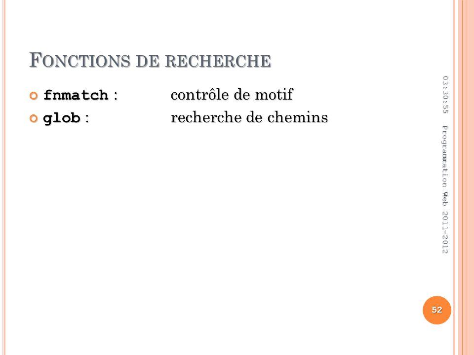 F ONCTIONS DE RECHERCHE fnmatch :contrôle de motif fnmatch :contrôle de motif glob :recherche de chemins glob :recherche de chemins 03:32:45 52 Programmation Web 2011-2012