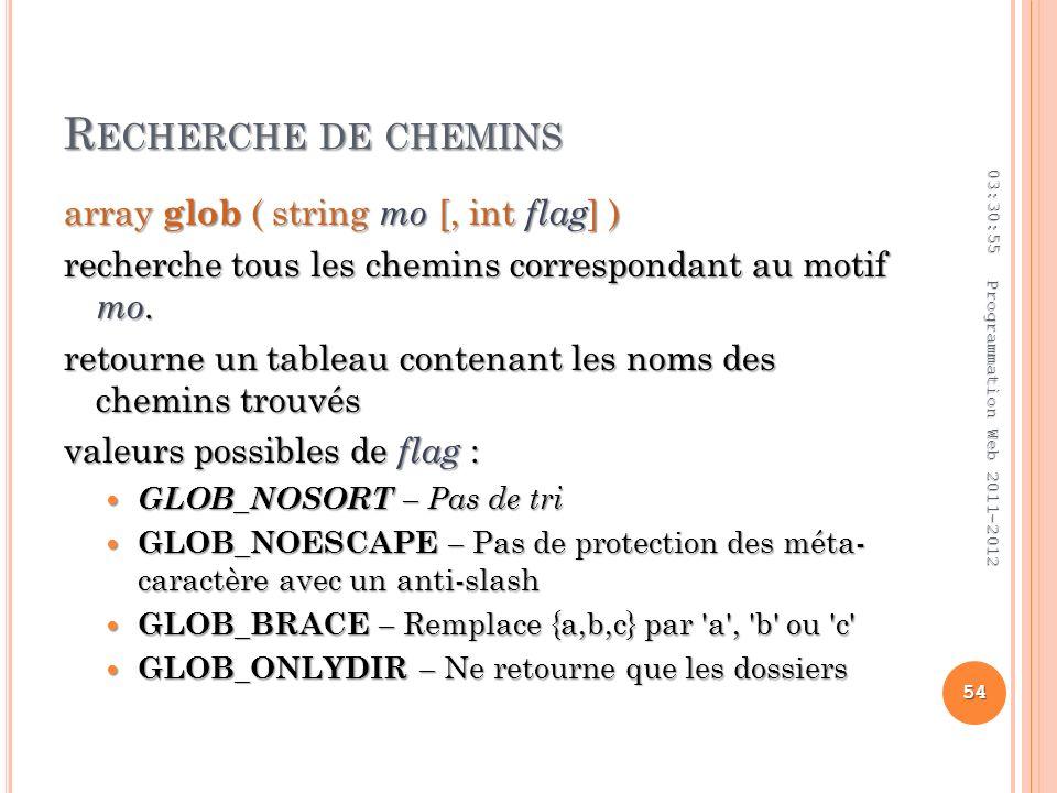 R ECHERCHE DE CHEMINS array glob ( string mo [, int flag ] ) recherche tous les chemins correspondant au motif mo.