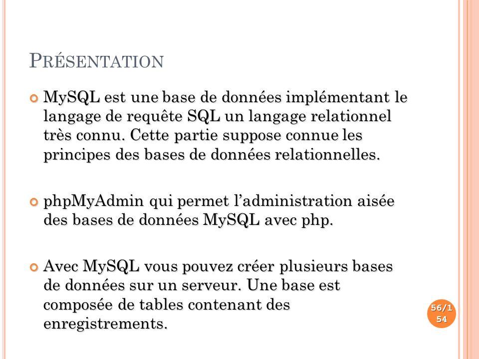 P RÉSENTATION MySQL est une base de données implémentant le langage de requête SQL un langage relationnel très connu.