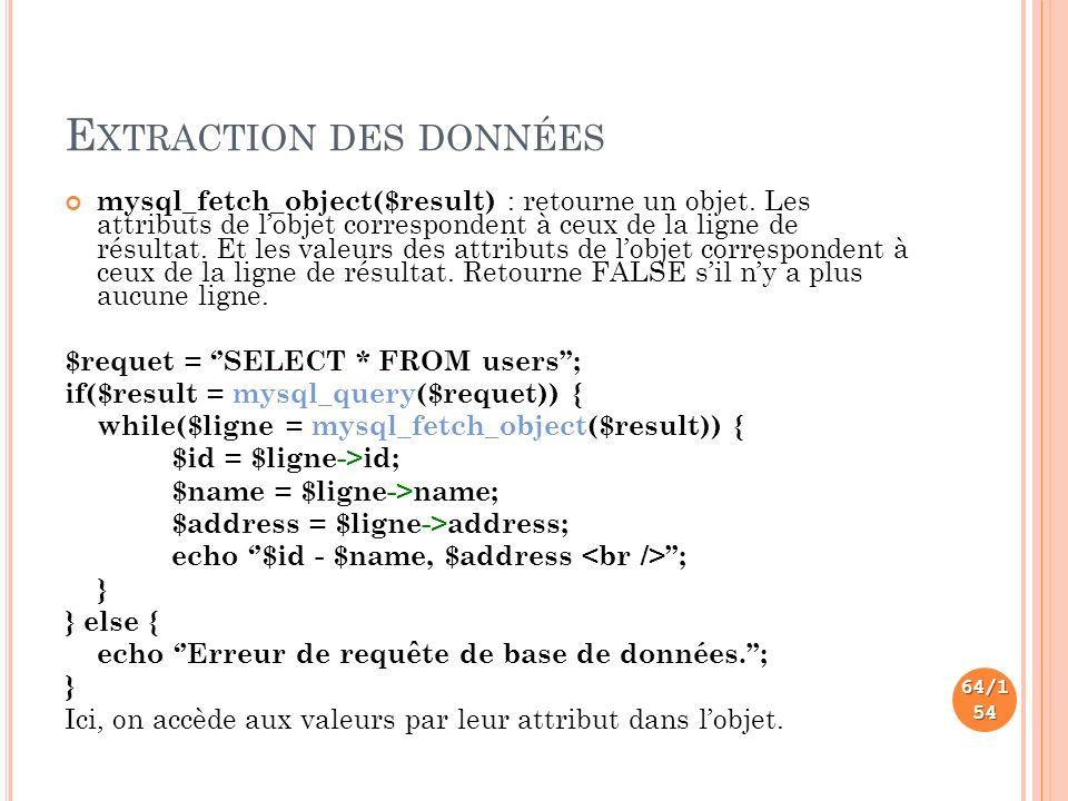 E XTRACTION DES DONNÉES mysql_fetch_object($result) : retourne un objet.