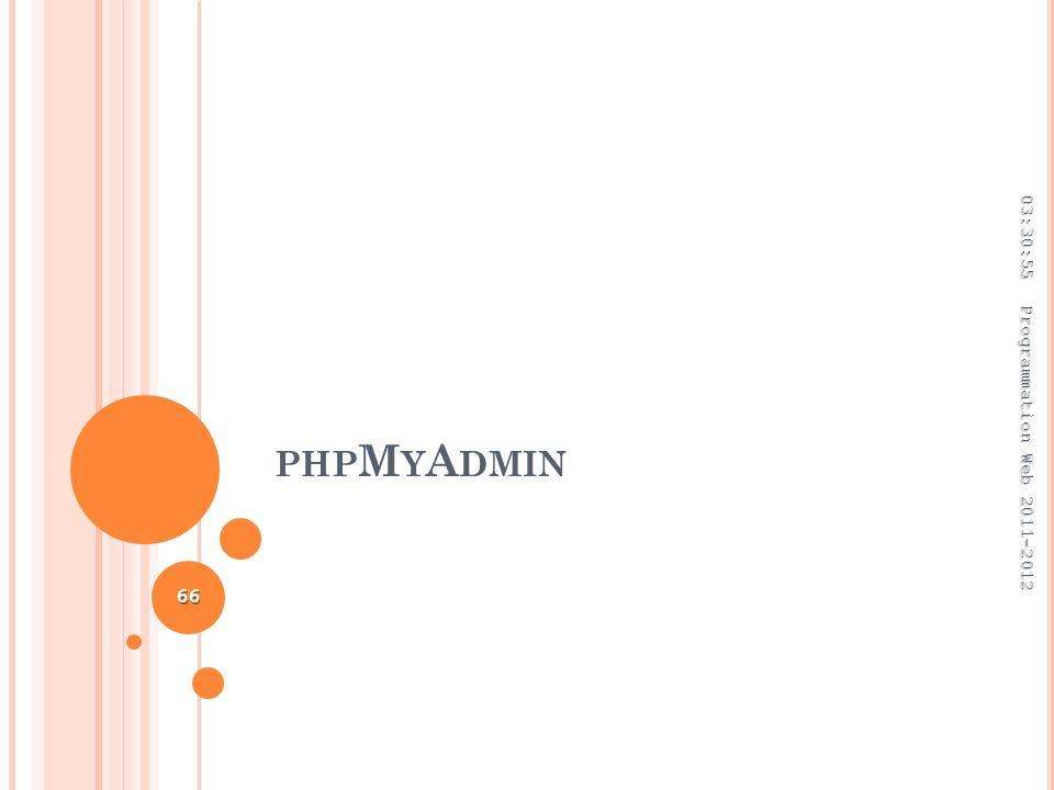 PHP M Y A DMIN 03:32:45 Programmation Web 2011-2012 66