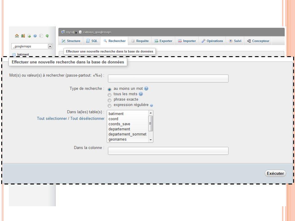 R ECHERCHE DANS LA BASE 03:32:45 73 Programmation Web 2011-2012