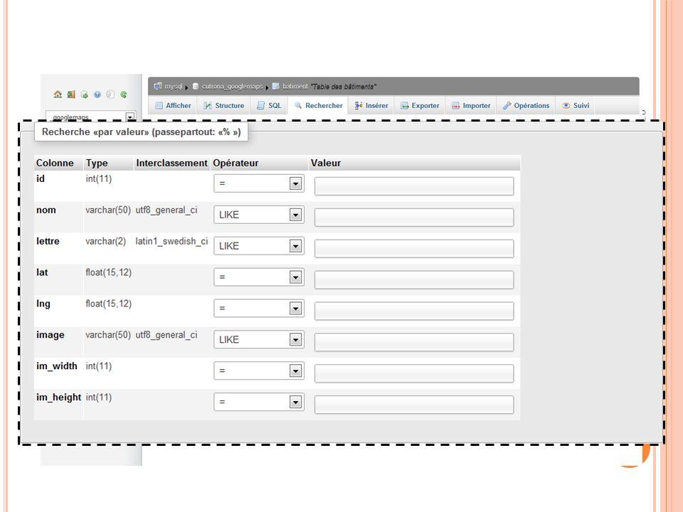 R ECHERCHE DANS UNE TABLE 03:32:45 78 Programmation Web 2011-2012