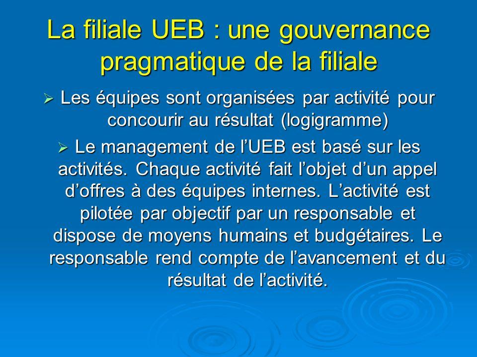 La filiale UEB : une gouvernance pragmatique de la filiale Les équipes sont organisées par activité pour concourir au résultat (logigramme) Les équipes sont organisées par activité pour concourir au résultat (logigramme) Le management de lUEB est basé sur les activités.