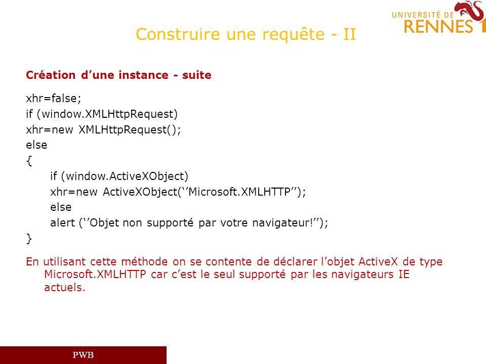 PWB Construire une requête - II Création dune instance - suite xhr=false; if (window.XMLHttpRequest) xhr=new XMLHttpRequest(); else { if (window.Activ