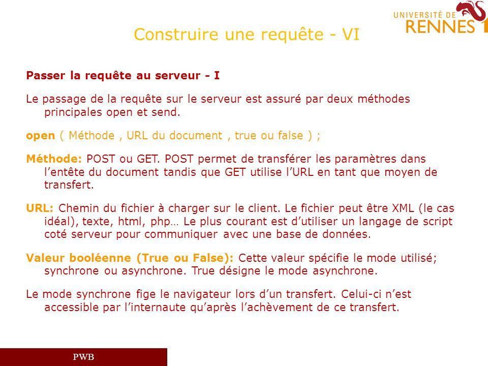 PWB Construire une requête - VI Passer la requête au serveur - I Le passage de la requête sur le serveur est assuré par deux méthodes principales open