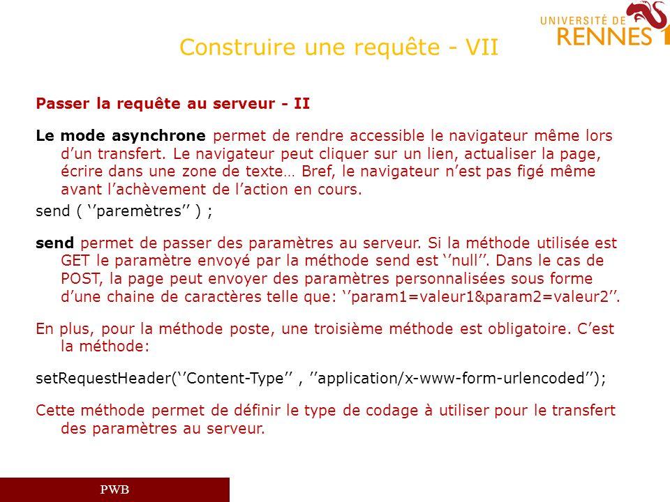 PWB Construire une requête - VII Passer la requête au serveur - II Le mode asynchrone permet de rendre accessible le navigateur même lors dun transfer