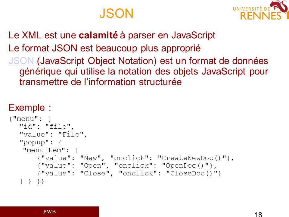 PWB 18 JSON Le XML est une calamité à parser en JavaScript Le format JSON est beaucoup plus approprié JSONJSON (JavaScript Object Notation) est un for