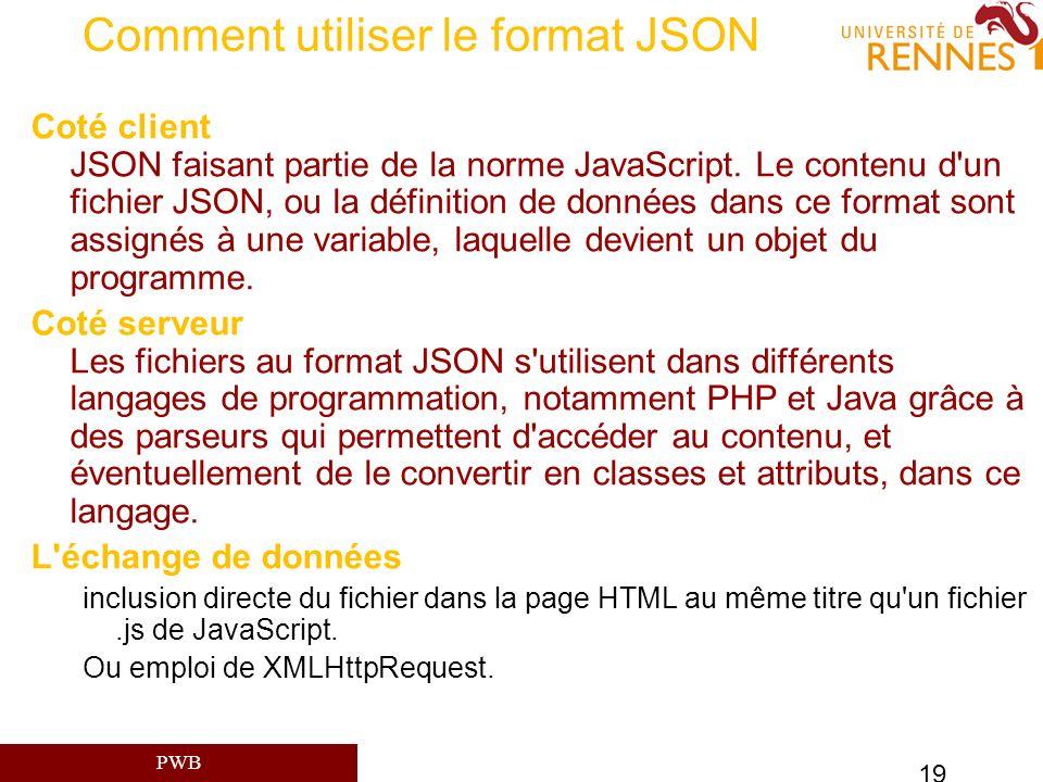 PWB 19 Comment utiliser le format JSON Coté client JSON faisant partie de la norme JavaScript. Le contenu d'un fichier JSON, ou la définition de donné