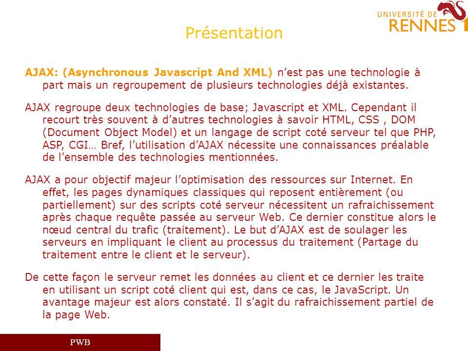 PWB Présentation AJAX: (Asynchronous Javascript And XML) nest pas une technologie à part mais un regroupement de plusieurs technologies déjà existante