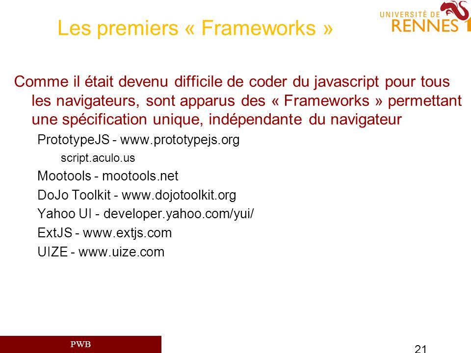 PWB 21 Les premiers « Frameworks » Comme il était devenu difficile de coder du javascript pour tous les navigateurs, sont apparus des « Frameworks » p