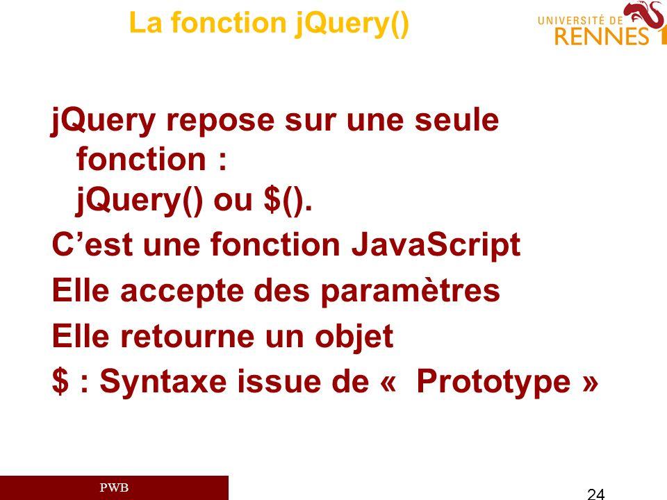 PWB 24 La fonction jQuery() jQuery repose sur une seule fonction : jQuery() ou $(). Cest une fonction JavaScript Elle accepte des paramètres Elle reto