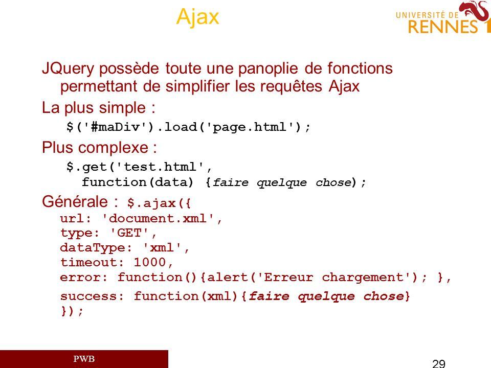 PWB 29 Ajax JQuery possède toute une panoplie de fonctions permettant de simplifier les requêtes Ajax La plus simple : $('#maDiv').load('page.html');
