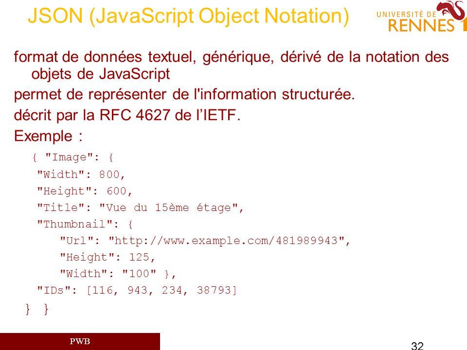 PWB 32 JSON (JavaScript Object Notation) format de données textuel, générique, dérivé de la notation des objets de JavaScript permet de représenter de