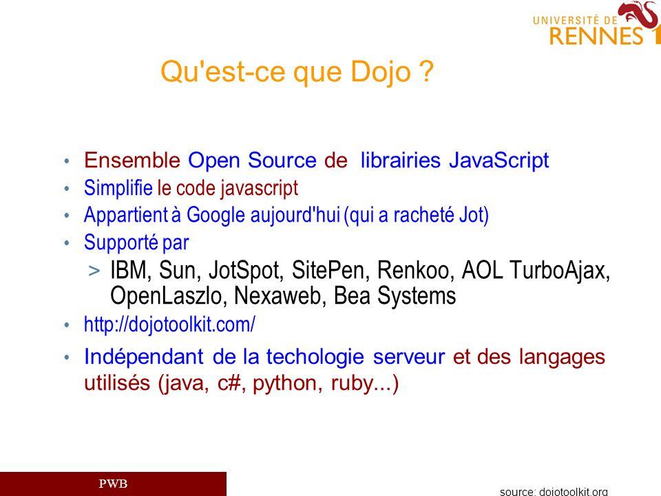 PWB Qu'est-ce que Dojo ? Ensemble Open Source de librairies JavaScript Simplifie le code javascript Appartient à Google aujourd'hui (qui a racheté Jot