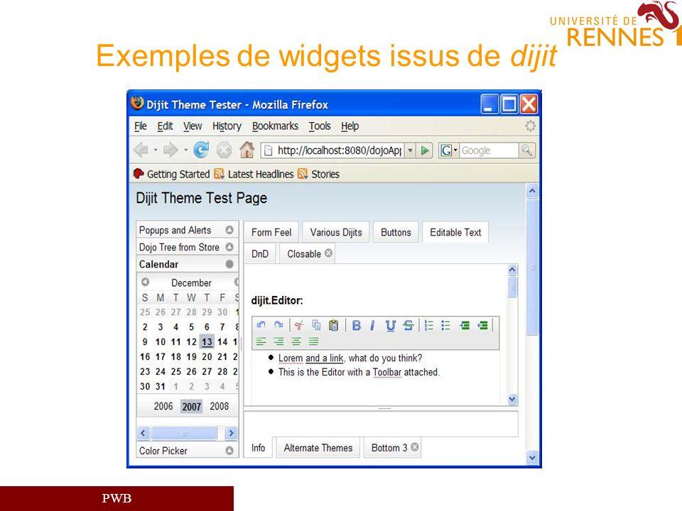 PWB Exemples de widgets issus de dijit