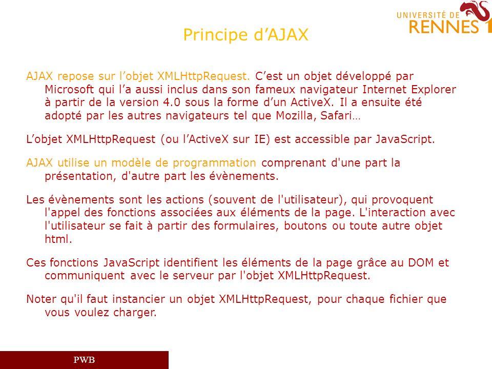PWB Principe dAJAX AJAX repose sur lobjet XMLHttpRequest. Cest un objet développé par Microsoft qui la aussi inclus dans son fameux navigateur Interne