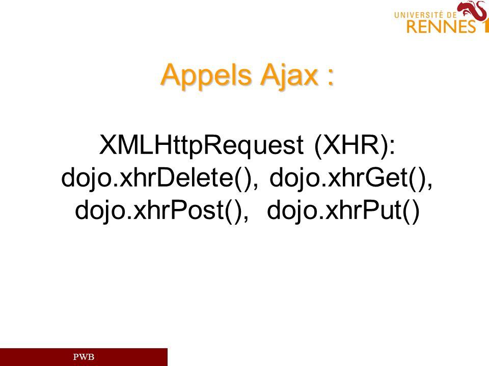 PWB Appels Ajax : Appels Ajax : XMLHttpRequest (XHR): dojo.xhrDelete(), dojo.xhrGet(), dojo.xhrPost(), dojo.xhrPut()