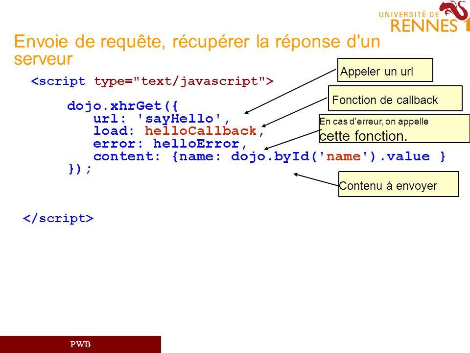 PWB Envoie de requête, récupérer la réponse d'un serveur dojo.xhrGet({ url: 'sayHello', load: helloCallback, error: helloError, content: {name: dojo.b