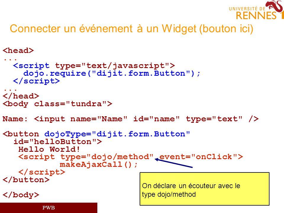 PWB Connecter un événement à un Widget (bouton ici)... dojo.require(