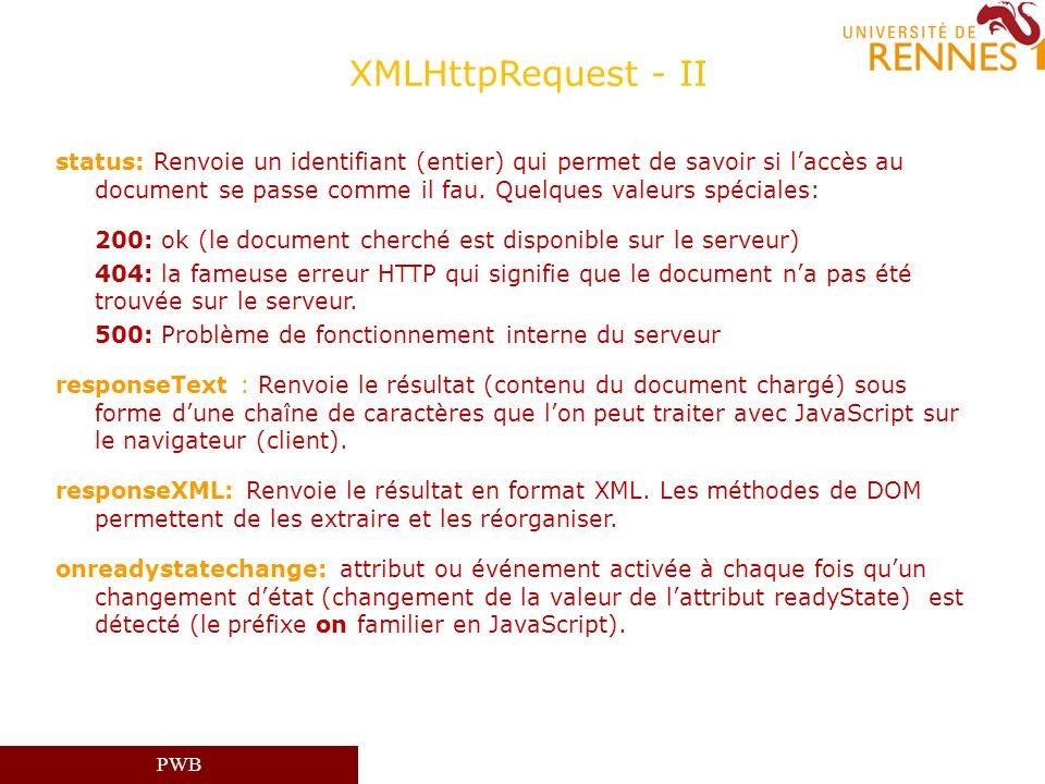PWB XMLHttpRequest - II status: Renvoie un identifiant (entier) qui permet de savoir si laccès au document se passe comme il fau. Quelques valeurs spé