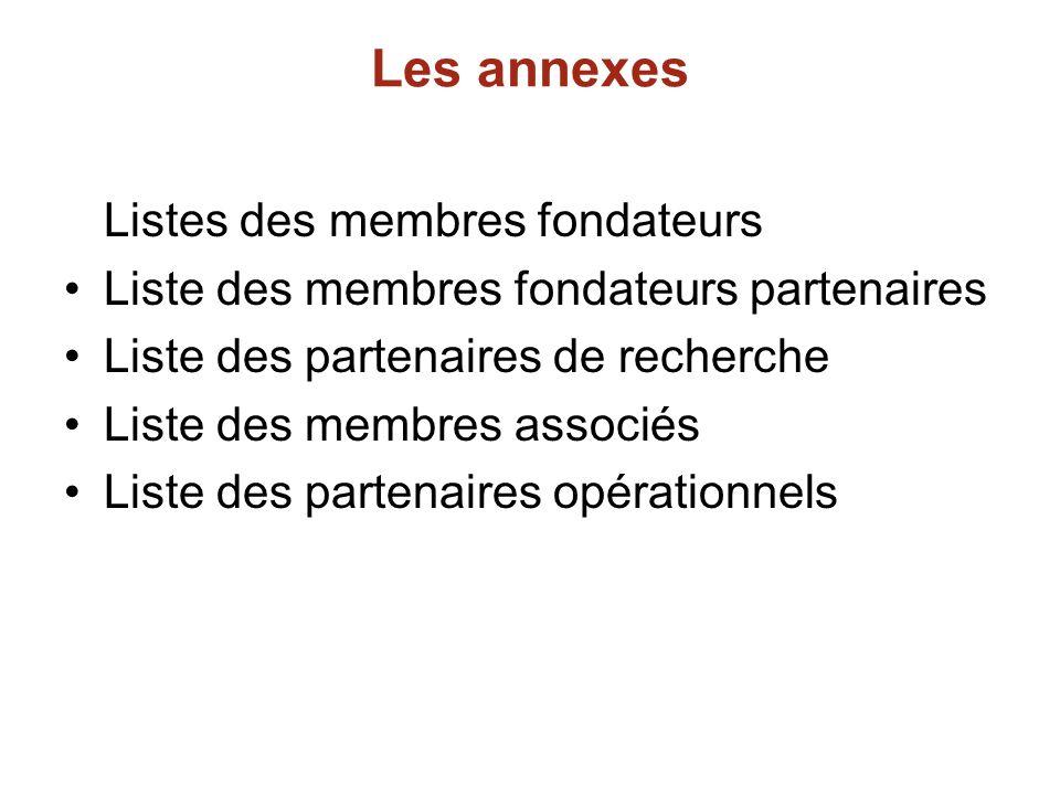 Les annexes Listes des membres fondateurs Liste des membres fondateurs partenaires Liste des partenaires de recherche Liste des membres associés Liste des partenaires opérationnels