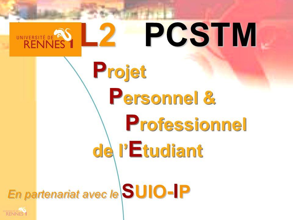 P rojet P ersonnel & P rofessionnel de l E tudiant P rojet P ersonnel & P rofessionnel de l E tudiant L2 PCSTM En partenariat avec le S UIO -I P