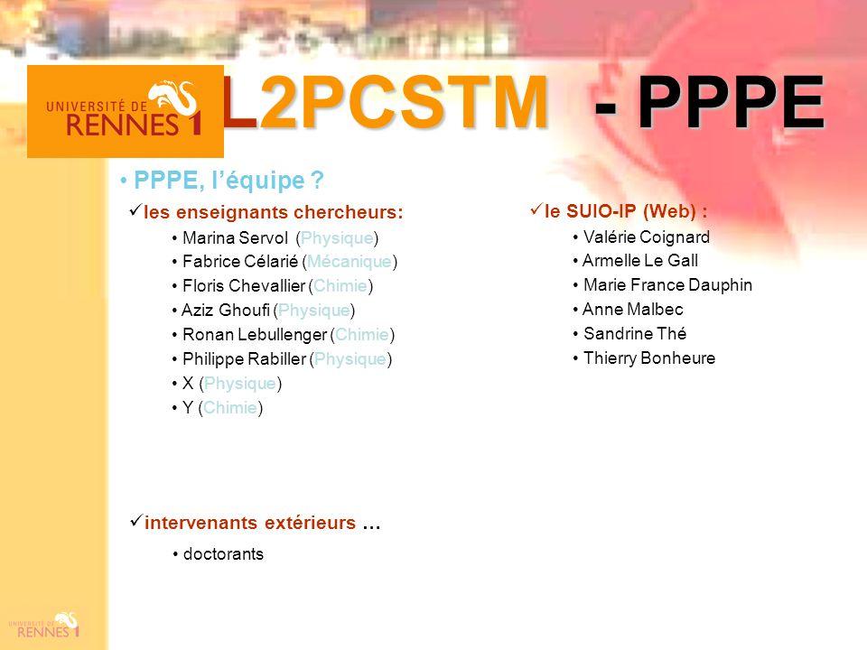 L2PCSTM - PPPE PPPE, léquipe ? les enseignants chercheurs: Marina Servol (Physique) Fabrice Célarié (Mécanique) Floris Chevallier (Chimie) Aziz Ghoufi