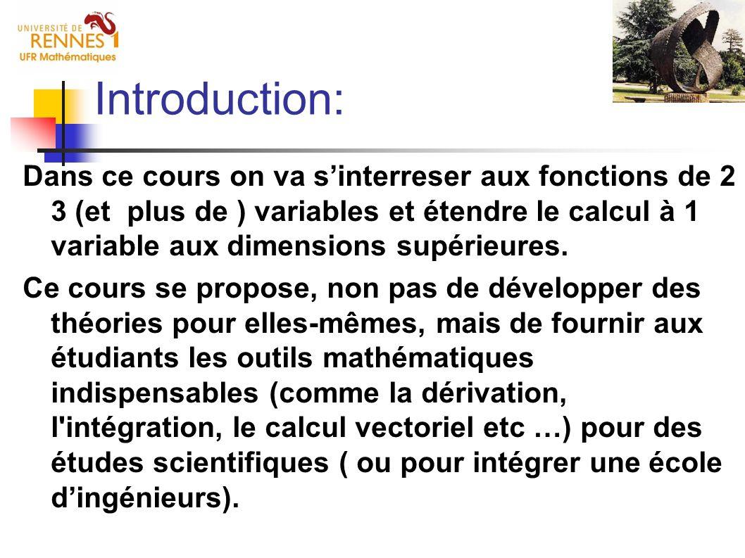 Introduction: Dans ce cours on va sinterreser aux fonctions de 2 3 (et plus de ) variables et étendre le calcul à 1 variable aux dimensions supérieure