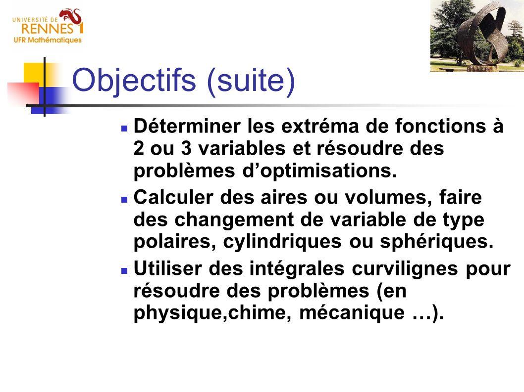 Déterminer les extréma de fonctions à 2 ou 3 variables et résoudre des problèmes doptimisations. Calculer des aires ou volumes, faire des changement d